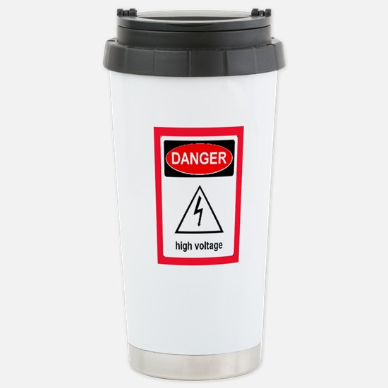 DANGER! HIGH VOLTAGE! Stainless Steel Travel Mug