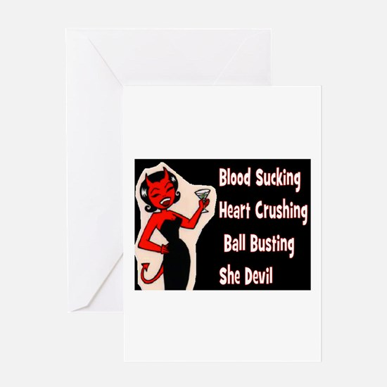 BALL BUSTING - SHE DEVIL.. Greeting Card
