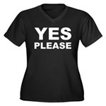 Say Please With This Women's Plus Size V-Neck Dark