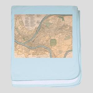 Vintage Map of Pittsburgh PA (1891) baby blanket