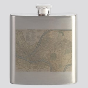 Vintage Map of Pittsburgh PA (1891) Flask
