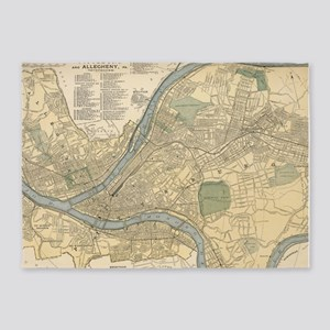 Vintage Map of Pittsburgh PA (1891) 5'x7'Area Rug