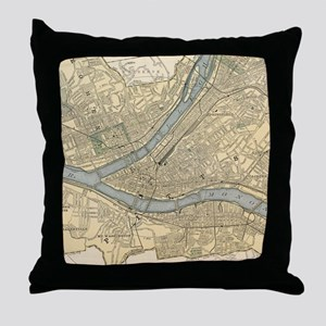 Vintage Map of Pittsburgh PA (1891) Throw Pillow