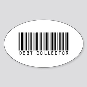 Debt Collector Barcode Oval Sticker