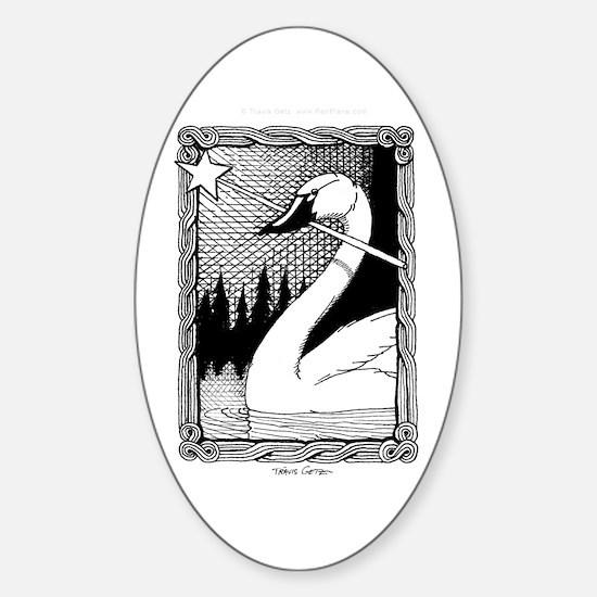 'Swan Magic' Oval Decal
