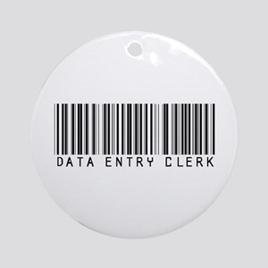 Data Entry Clerk Barcode Ornament (Round)
