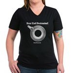 Rear End Destructor! - Women's V-Neck Dark T-Shirt