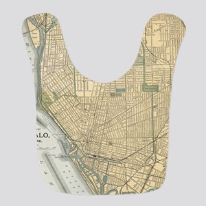 Vintage Map of Buffalo New York Polyester Baby Bib