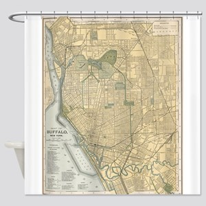 Vintage Map of Buffalo New York (18 Shower Curtain