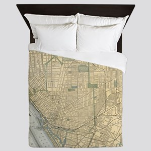 Vintage Map of Buffalo New York (1891) Queen Duvet
