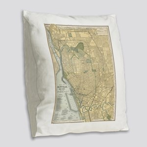 Vintage Map of Buffalo New Yor Burlap Throw Pillow