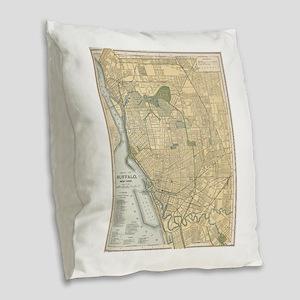 Vintage Map of Buffalo New Yor Burlap Throw Pillow