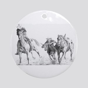 Steer Wrestler Ornament (Round)