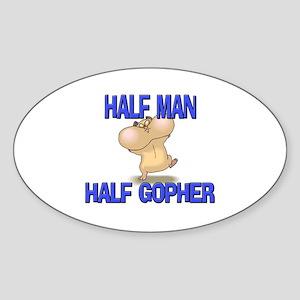 Half Man Half Gopher Oval Sticker