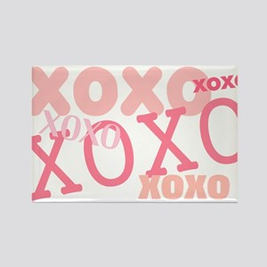 Pink XOXO Hugs and Kisses Rectangle Magnet