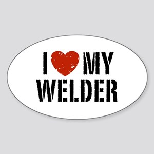 I Love My Welder Oval Sticker