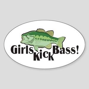 Girls Kick Bass! Oval Sticker