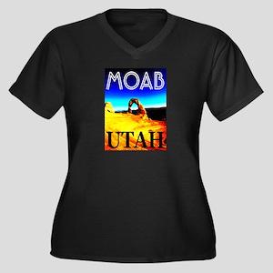 Moab, Utah Women's Plus Size V-Neck Dark T-Shirt