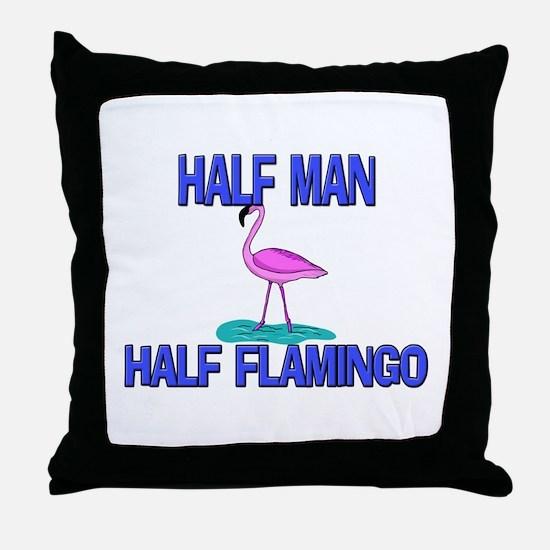 Half Man Half Flamingo Throw Pillow