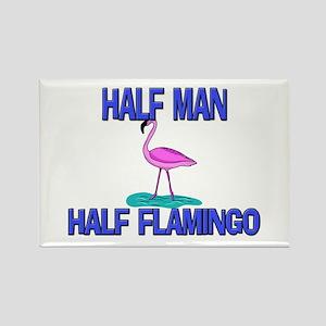 Half Man Half Flamingo Rectangle Magnet