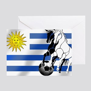 Uruguay Soccer Flag Greeting Cards