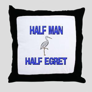 Half Man Half Egret Throw Pillow