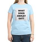 Women's Pink WHAT DOES ASHLEY EAT? T-Shirt