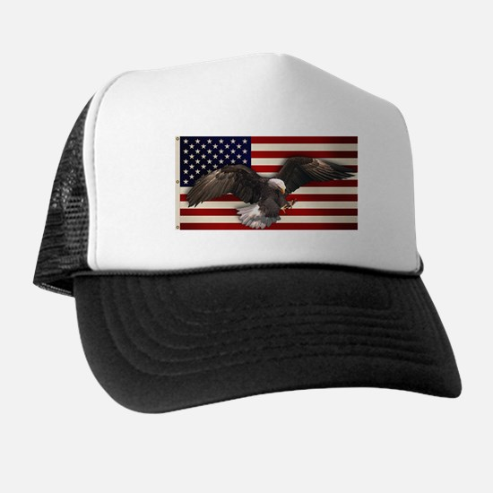 American Flag w/Eagle Trucker Hat