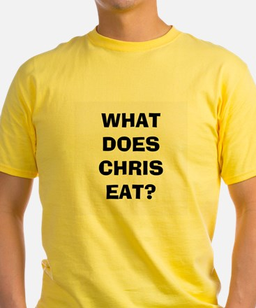 Yellow WHAT DOES CHRIS EAT? T-Shirt