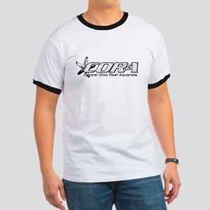 CORA Black logo Ringer T (white)