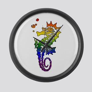 Rainbow Seahorse Large Wall Clock