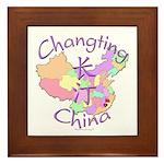Changting China Map Framed Tile
