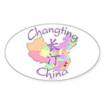 Changting China Map Oval Sticker