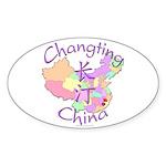 Changting China Map Oval Sticker (10 pk)