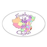Fuzhou China Map Oval Sticker (10 pk)