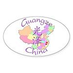 Guangze China Map Oval Sticker