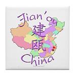 Jian'ou China Map Tile Coaster