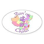 Jian'ou China Map Oval Sticker (10 pk)