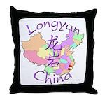 Longyan China Map Throw Pillow