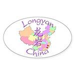 Longyan China Map Oval Sticker (10 pk)