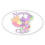 Nanping China Map Oval Sticker (10 pk)