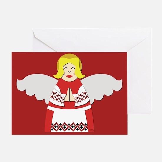 Ukrainian Angel Red Blouse Greeting Card UKR