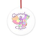 Quanzhou China Map Ornament (Round)
