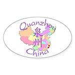 Quanzhou China Map Oval Sticker (10 pk)