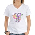 Quanzhou China Map Women's V-Neck T-Shirt