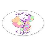Songxi China Map Oval Sticker (10 pk)