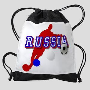 Russia Soccer Player Drawstring Bag