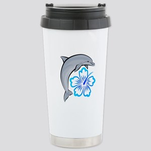 Dolphin Hibiscus Blue Stainless Steel Travel Mug