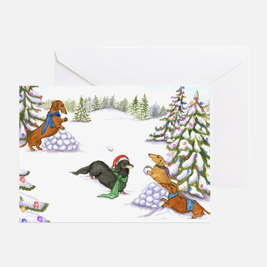 Weiner Dog Snowball Fight Greeting Card