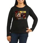 Santa's Whippet Women's Long Sleeve Dark T-Shirt